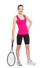 Young woman holding tennis racket on white background.