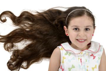 Beautiful Smiling Girl with Beautiful Hair