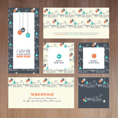 Set of greeting cards and badges for Christmas and New Year