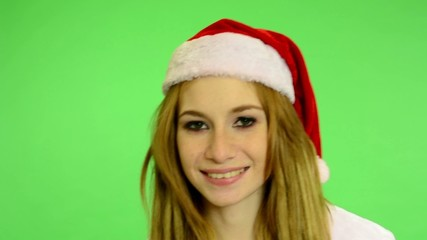 Christmas - Holidays - green screen - woman smiles