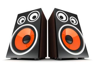 Two wooden speaker