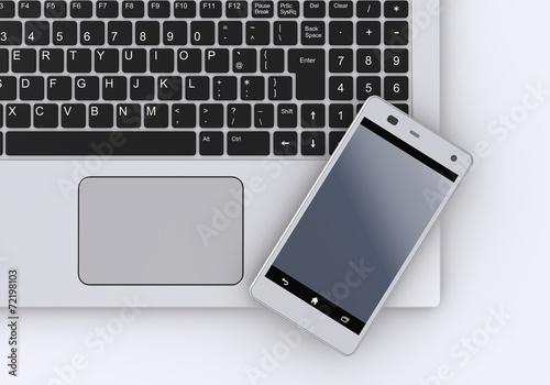 スマートフォンとノートパソコン - 72198103