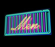 Men neon sign illuminated over dark background