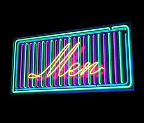 Men neon sign illuminated over dark background