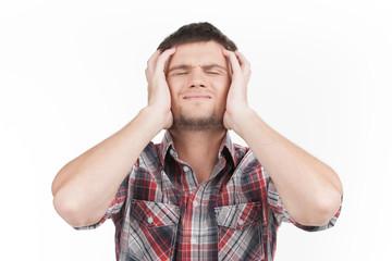 man having headache on white background.