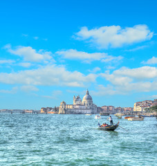 tourists in Venice on a cloudy day. Hdr tone mapping effect.