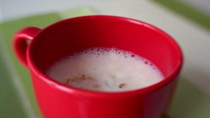 Fiocchi di avena versati nel latte