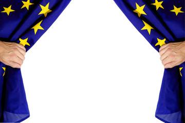 Vorhang auf, EU Kasperltheater, europäische Union, Männer Hände