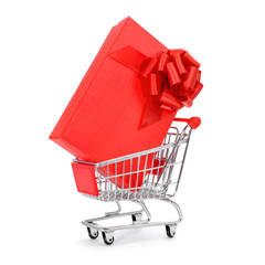 gift in a shopping cart