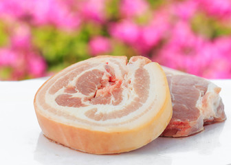 Raw pork and variety vegetables