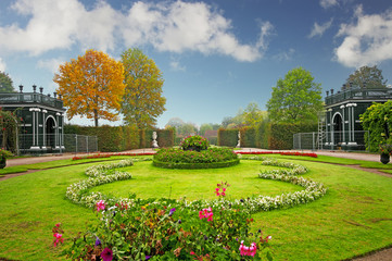 Garden of Schonbrunn Palace park in Vienna