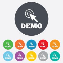 Demo with cursor sign icon. Demonstration symbol