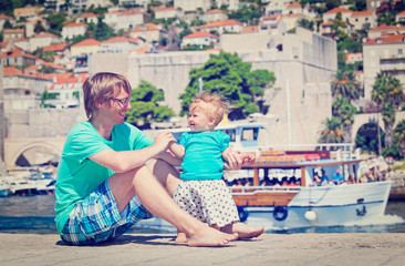 father and little daughter on vacation in Europe