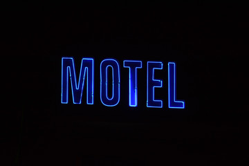 Neon Sign with the word Motel.