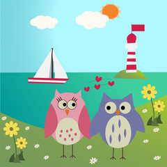 Owls in love on the sea with lighthouse background