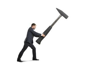 man with big hammer