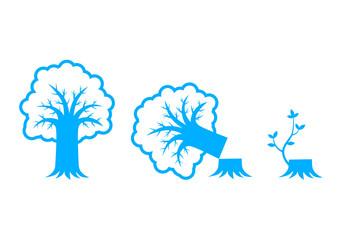 Blue tree icons on white background