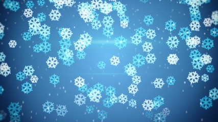 blue glowing snowflakes falling loop background