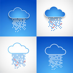 Set of abstract technology cloud theme backgrounds. Vector illus