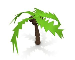 Vrijstaande palmboom tegen witte achtergrond