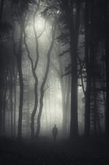 man walking in mysterious dark forest