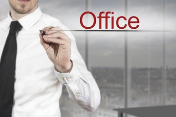 businessman writing office in the air