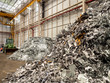 Metal and Aluminium scrap pile and dozer in recycle factory