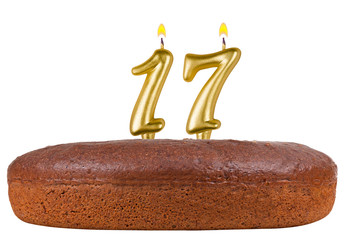 birthday cake with candles number 17 isolated
