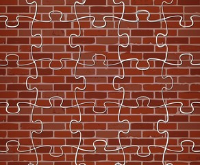puzzle brick wall illustration design