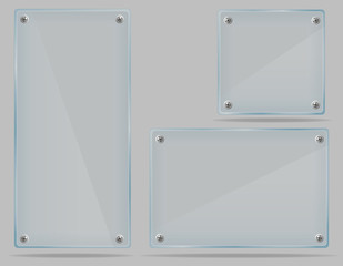 set transparent glass plate vector illustration