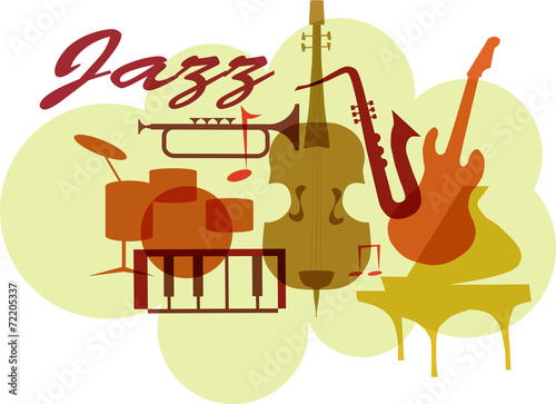 Colorful Jazz instruments set. isolated on white. illustration - 72205337