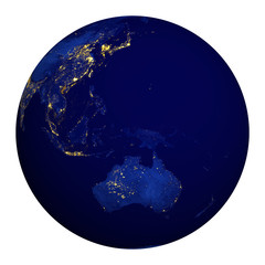 Planet earth at night. Australia, Oceania, part of Asia.