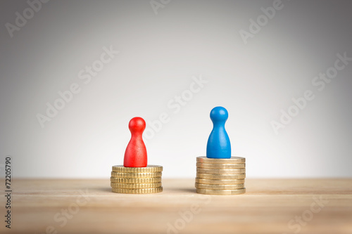 canvas print picture Wage gap concept for feminism