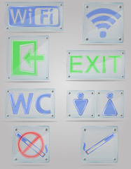 set icons transparent signs for public places on the plate vecto