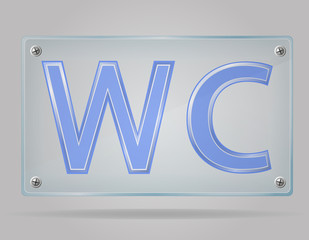 transparent sign toilet on the plate vector illustration