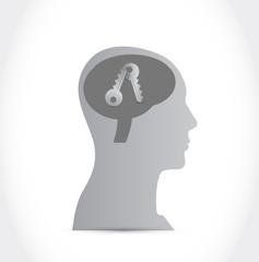 head and keys. illustration design