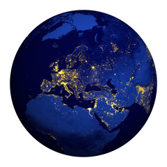 Planet earth at night. Europe, part of Asia and Africa.