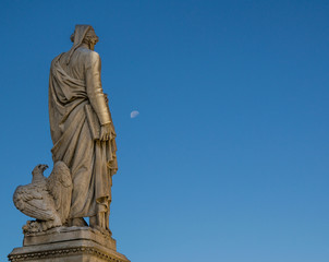 Dante Alighieri inspired by the moon in the early morning