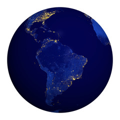 Planet earth at night. South America.