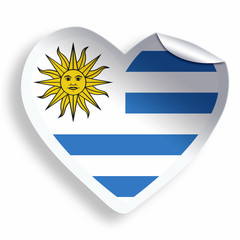 Heart sticker with flag of Uruguay  isolated on white