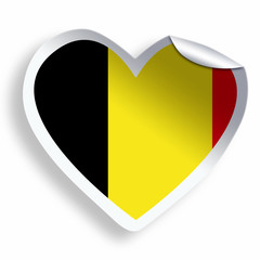 Heart sticker with flag of Belgium isolated on white