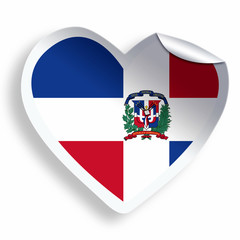 Heart sticker with flag of Dominican Republic isolated