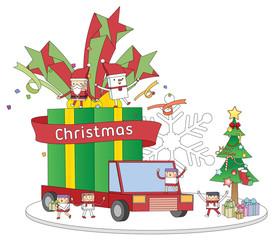 Christmas gift box truck concept line illustration