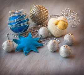 Christmas balls before starting the New Year holidays