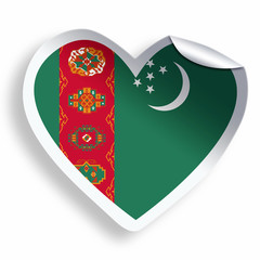 Heart sticker with flag of Turkmenistan isolated on white