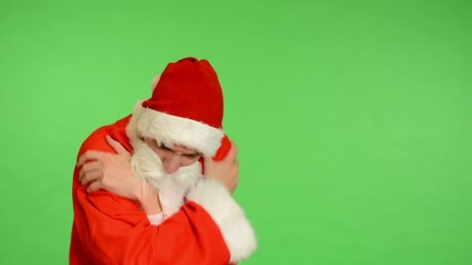 santa claus - green screen - studio - santa claus shiver