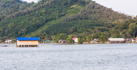 fishing huts in the sea,Thailand