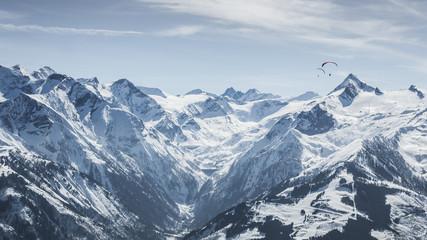 Beautiful mountain ski landscape with Kitzsteinhorn in the backg