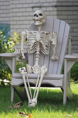 Skeleton (Decoration) in Chair for Halloween