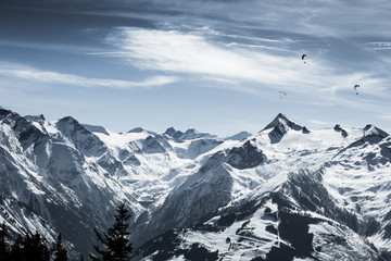 Beautiful mountain ski landscape with Kitzsteinhorn in the backg
